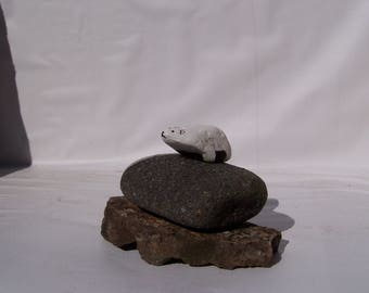 Polar Bear, painted rock, fairy garden miniatures, fairy garden accessories, animals, dolls & miniatures earthspalette