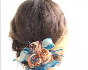 Felt flower hair accessories, blue felt necklace, bracelet, flower girl jewelry, bride hair accessorie, bridesmade jewelry, Weddings flowers