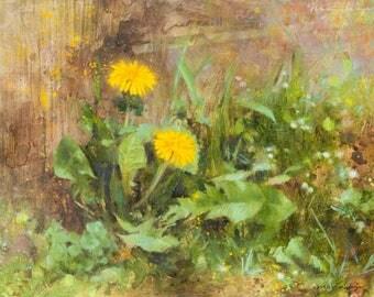 Original oil painting on canvas dandelion art fine art flower wildflower botanical rustic realistic impressionist painting on panel 11x14