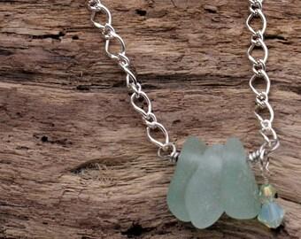 Seafoam Trio Sea--Glass Necklace--Beach Glass Necklace   592