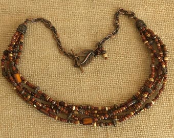 Multistrand, handmade, Toho glass seed beads, adobe, dark orange,czech beads, toggle clasp, copper necklace