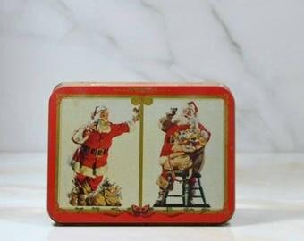Vintage Coca-Cola Christmas Playing Card Tin, 1994