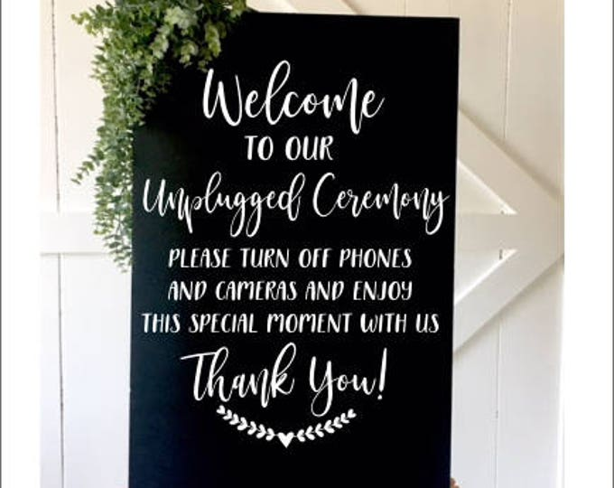 Unplugged Ceremony Decal Wedding Decal Vinyl Decal for Chalkboard Rustic Handwritten Font Decal Wedding Decor DIY Sign Letttering