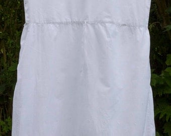 vintage white cotton underskirt/dress,with broderie anglais lace detail,