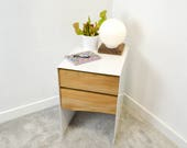 Bedside table or chest of drawers  steel and natural live edge wood nightstand