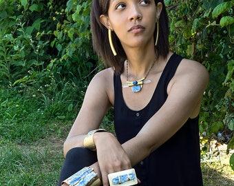 "KYANITE & QUARTZ ARC Collar Necklace with Spikes 15.5"""