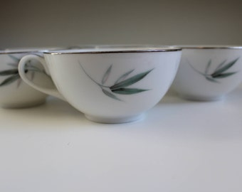 6 Vintage Sango Bamboo Teacups- Free Shipping