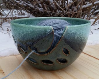 Yarn Bowl in Aqua and Blue // Gift for Knitter // Knitting Bowl // Handmade Pottery // Aslakson Pottery
