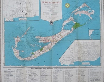 The Gateway to Bermuda Map — from The Bermuda Guide Book 1950 Edition