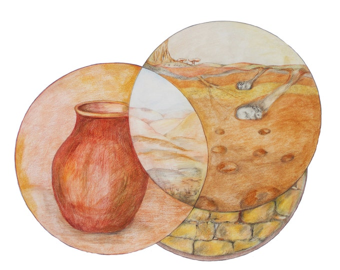 Feng Shui Earth Element, Earth Feng Shui with Clay, Stone, Landscape and cut-through,  Art Print of Coloured Pencil Drawing; highly detailed