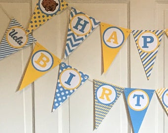 UCLA Inspired Happy Birthday or Baby Shower Party Banner - Light Blue Yellow- Pick Your School - Party Packs Available