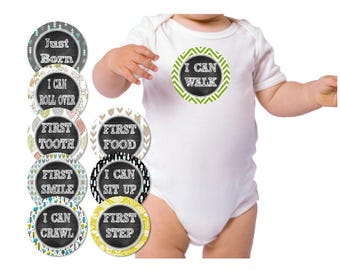 Baby Milestone Stickers,  Roll Over, Crawl, Sit Up and Stand, milestones, baby stickers, monthly stickers, iron on milestones