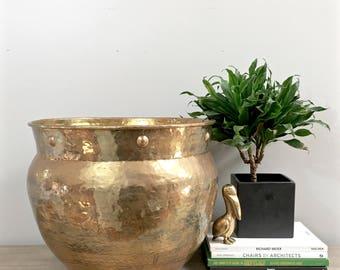 Huge Vintage Brass Planter Gold Hammered Large Tree Bush Porch Garden Pot