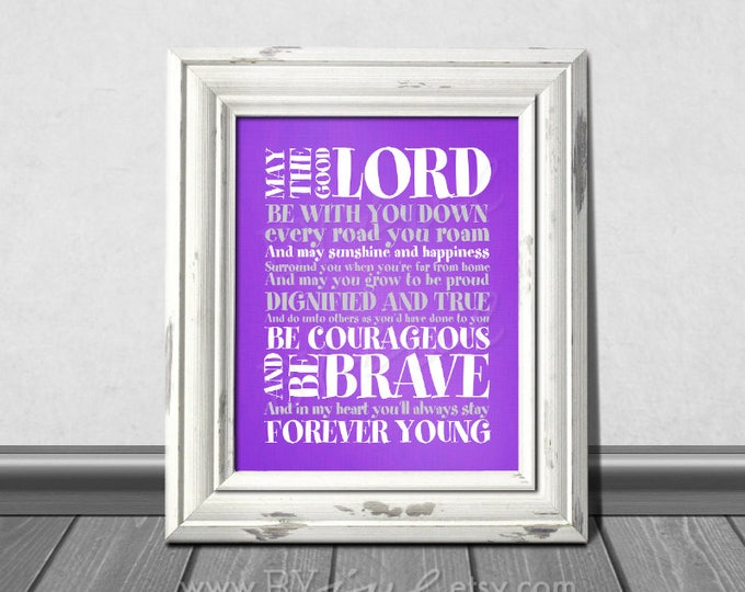 Forever Young Lyrics, Rod Stewart song,  Purple themed, Nursery Stripes Theme, Download Immediately