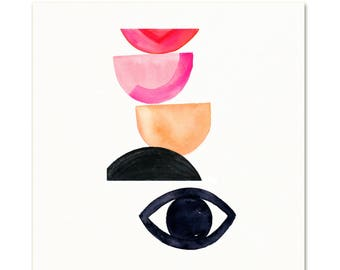 Mid Century Abstract Watercolor Art Print. Abstract Eye Art. Bold Modern Art. Colorful Geometric Art Print. Modern Decor. Modern Shape Art.