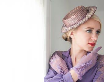 Vintage purple side-tilt hat, 1930s 1940s straw, light lavender, white ruffles, mini hat fascinator