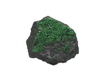 Garnet Uvarovite green Crystal Gem Druzy on chromite matrix Stone, Mineral Specimen, Focal Gemstone, Wear it or Display it