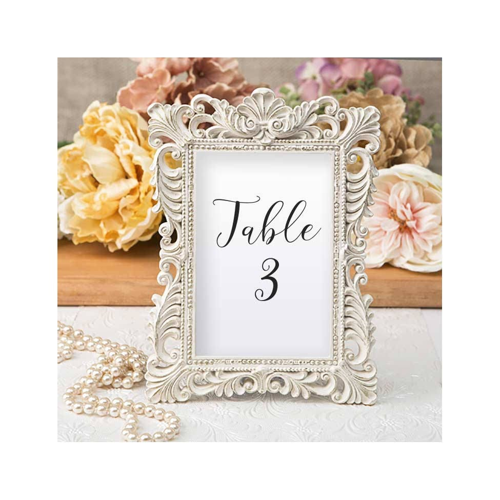 Ivory Table Number Frames 25 Set - Size 4 x 6 - Gold Leaf Ornate ...