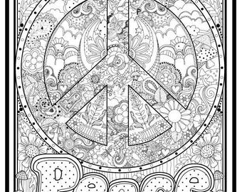 "Peace Sign Illustrated to color,8.5x11"", Downloadable print to color, Fun design to color for all ages"