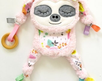 Sloth Baby Blanket Animal Lovey Organic Ring Teether Toy Play Friend