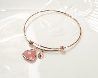 Bridesmaid gift, Blush Pink Bracelet, Pink Agate Bracelet, Personalized bracelet, Leaf initial, rose gold bangle, wedding