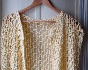 ON SALE Vintage crochet vest / sleeveless boho vest / sunshine yellow tunic style vest / long fringed vest / size large xl xxl