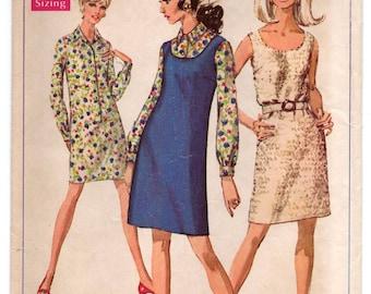 """1960's Simplicity One-Piece Dress or Shirtwaist Dress Pattern - Bust 36"""" - No. 7763"""
