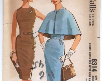"1960's McCall's Wiggle Dress with Short Cape Pattern - Bust 34"" - No. 6314"