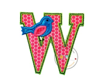 Letter w with song bird and black/green trim - iron embroidered fabric applique patch embellishment- ready to ship