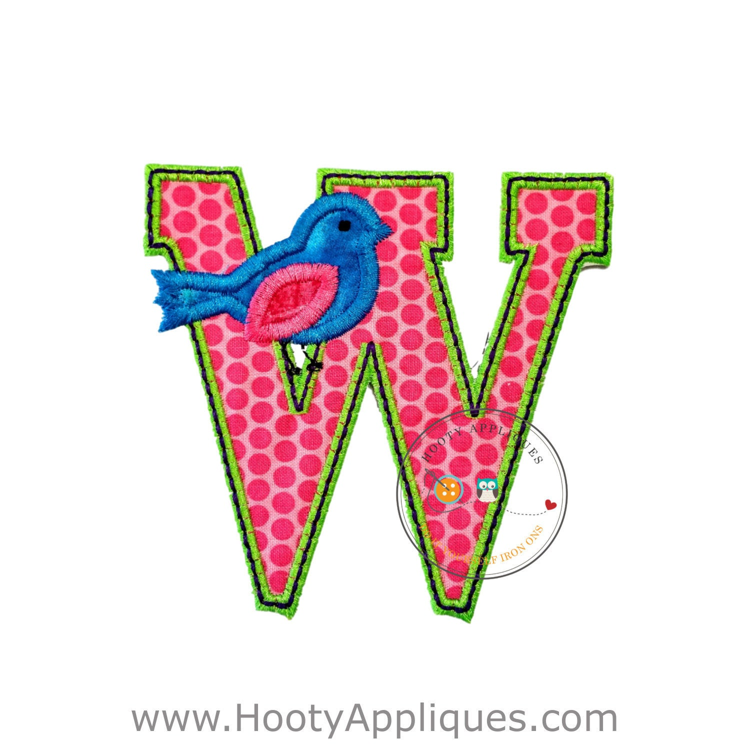 Letter w with song bird and black green trim iron embroidered