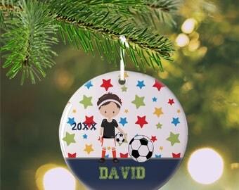 Personalized Kids Ornament - Sports Boy Stars Blue Solid Bar, Children Christmas Ceramic Circle Heart Snowflake Star