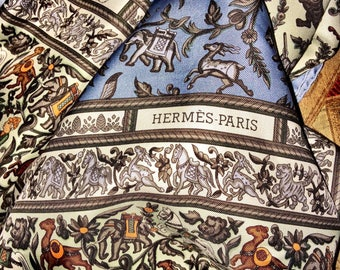 "Hermes Silk Scarf Blue ""Chasse en Inde"" Silk Twill  90cm NEW"