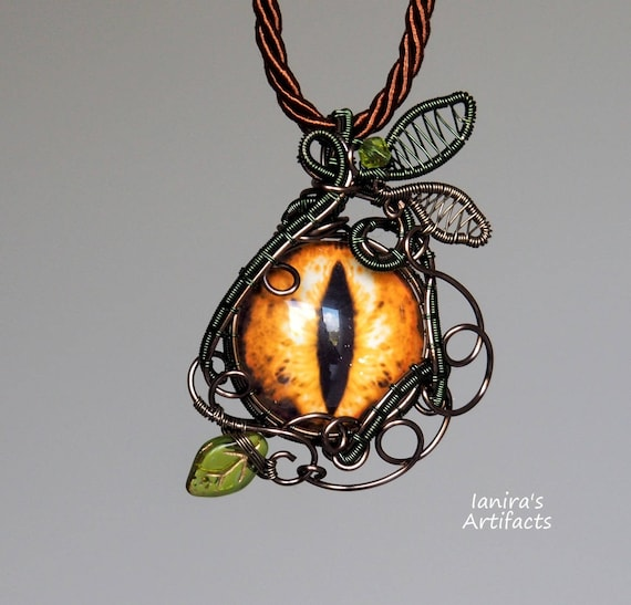 Dragon eye pendant Dragons necklace gold green nature jewelry Sauron Big eye Tolkien stories Cool gifts for her Fantasy