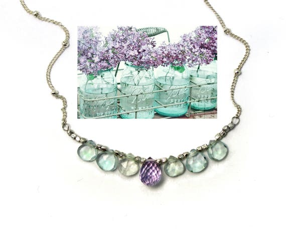 Bridesmaid Gifts. Wedding Color Match Service. Aquamarine and Pink Amethyst. Multi Gemstone Necklaces.  N2394