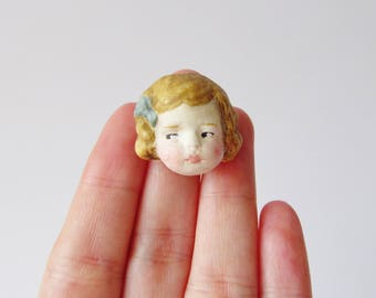 Miniature Doll Brooch Matilda - Paperclay Antique Doll Face Pin