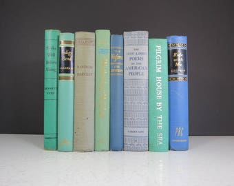 Vintage Blue Book Collection // Mismatched Set of 8 Curated Retro Books Decorative Spines Teal Bookshelf Fillers Wedding Decor Centerpiece