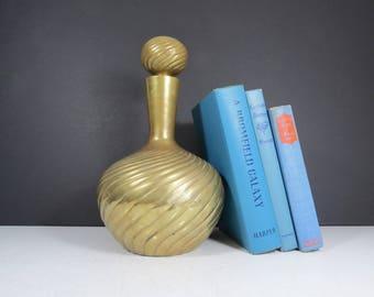 Large Brass Decanter // Vintage Dolbi Cashier 1980 Gold Metal Vase Hollywood Regency Mid Century Modern Genie Bottle with Stopper Art Deco