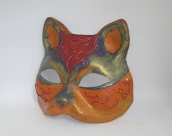Cat Venetian Masquerade Mask Paper Mache Colorful Animal Mask