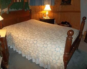 Vintage Bed Coverlet Bedspread, Hand Crochet, Ecru, Full Size
