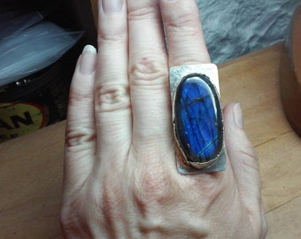 Handmade Labradorite and Reticulated Sterling Silver Statement Ring