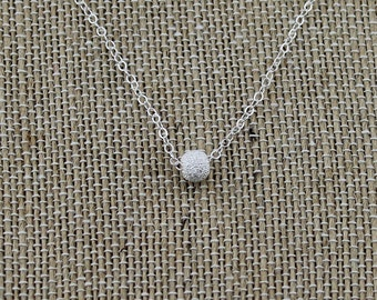 Sterling Silver Stardust Focal Bead Necklace on a 16, 17, 18, 19 or 20-Inch Sterling Silver Cable Chain; Dainty, Simple, Everyday Necklace