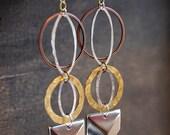 Geometric Earrings Sacred Geometry Earrings Hammered Earrings Sacred Geometry Jewelry Mixed Metal Earrings Hammered Hoops Chevron Earrings