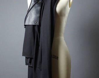 ON SALE Leather Black Scarf -  Long Black Scarf - Spring Black Scarf - Black Scarf - Women's Accessories - Leather Scarf
