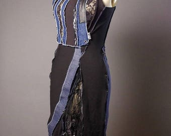 ON SALE OOAK Denim Dress - Up-cycled Summer dress - Street wear - Funky - Casual Summer Dress - Dark Fashion