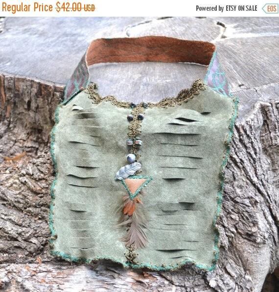ON SALE Boho Leather Necklace - Woodland  Leather Necklace - Leather Necklace Bib - OOAK