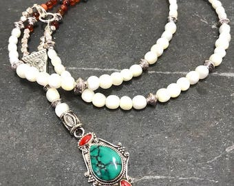 Turquoise and Troca Shell Long Beaded Necklace