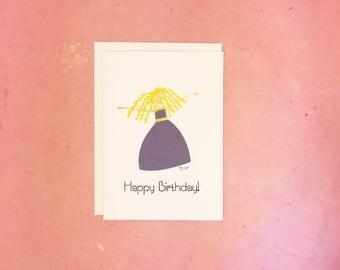 Handmade Happy Birthday Card with Woman in Purple Dress
