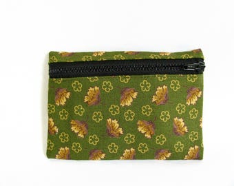 Medium Pouch- Olive green, tan and purple floral print cotton
