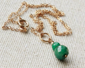 Emerald Pendant Necklace, Goldfilled wire wrap, emerald green gemstone charm, dainty pendant, May birthstone, holiday gift for her, 4483