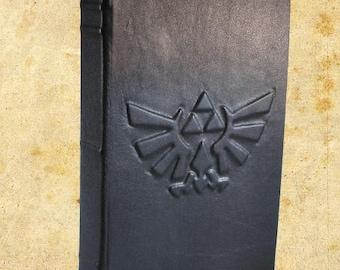 Zelda Hylian Shield Triforce Eagle Black Leather Journal